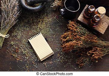 natural, s., hierbas, medicina, herbario, wort, john's, ...
