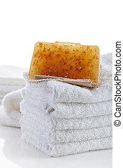 natural, sabonetes, toalhas, pilha