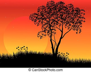 Natural scene with silhouette of tree against sunset light