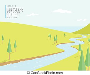Natural scenery, the river flows into the sea on a bright day flat vector.