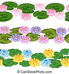 Natural seamless borders with lotus flowers and leaves....