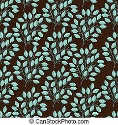 natural, seamless, padrão, com, ramos, de, leaves.