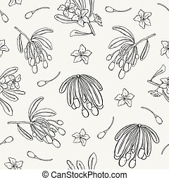 Natural seamless pattern with Goji berries, leaves and flowers hand drawn with contour lines on light background. Monochrome vector illustration for fabric print, wallpaper, wrapping paper, backdrop.