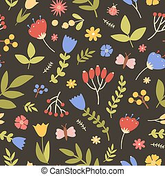 Natural seamless pattern with wild blooming plants on black background. Motley backdrop with meadow flowers, berries, butterflies and ladybugs. Flat spring vector illustration for wrapping paper.