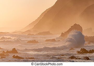 Natural sepia coastal sunset scene