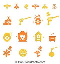 natural, set., abelha, mel, orgânica, ícone