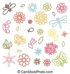 Natural set of beautiful flowers, beetles and butterflies.