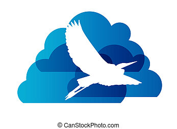 Natural Sign with Stork and Cloud Vector Illustration