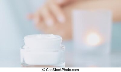 Natural skincare routine, woman applying moisturizing hand cream or body lotion for healthy skin, organic cosmetic product and luxury beauty brands