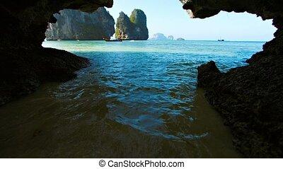 Natural Slot Eroded through a Limestone Seacliff - Video...