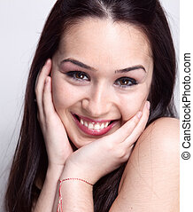 Natural smile of cute pretty woman