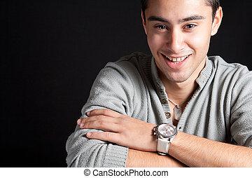 Natural smile of happy joyful man