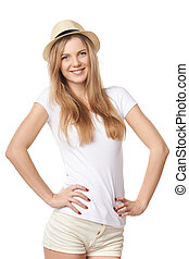 Natural smiling teen girl posing in blank white tshirt and ...