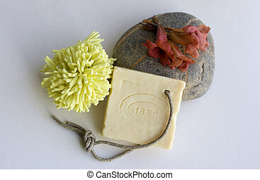 Natural soap and red flower