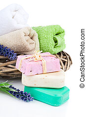 natural soap with lavender, on white background