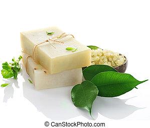 natural, sobre, feito à mão, branca, sabonetes