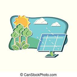 natural, solar, paisagem, painel