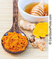 natural, spa, ingredientes, ., -, turmeric, e, mel, para, pele, care.
