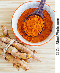 Natural Spa Ingredients . - Turmeric and honey for skin care...