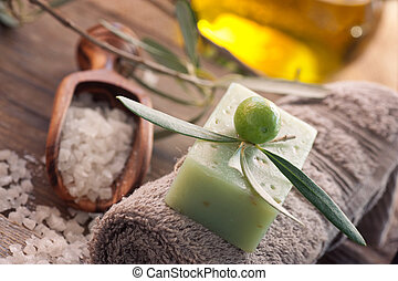 Natural spa setting with olive oil. - Natural spa setting...