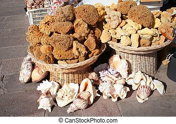 Natural sponges, souvenirs and shel