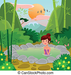 natural spring - girl in a natural hot spring over an asian...