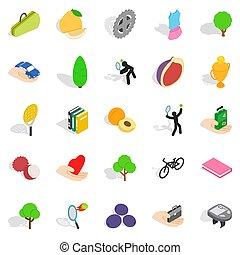 Natural stamina icons set, isometric style