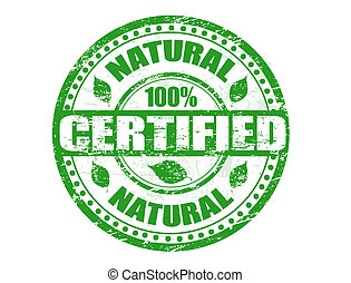 Green grunge rubber stamp with the text natural 100% certified written inside the stamp