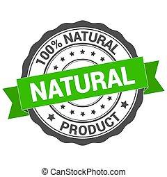 Natural stamp. Round grunge vintage ribbon natural sign