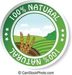 natural sticker, paper nature label - Vector natural...