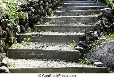 Natural stone stairs landscaping in garden