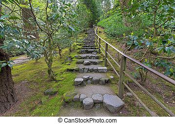 Natural Stone Steps in Japanese Garden