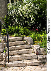 Natural stone steps - Landscaped front yard with natural ...