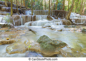 Natural stream waterfall in deep forest national park of Thailand