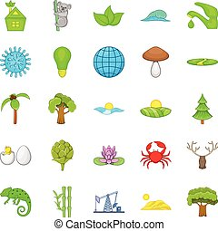 Natural strength icons set, cartoon style