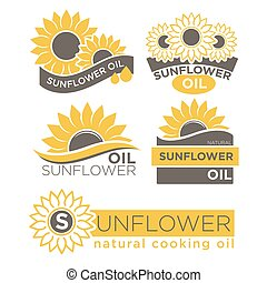 Natural sunflower oil logotypes set vector illustration on...