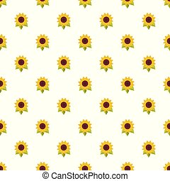 Natural sunflower pattern seamless vector
