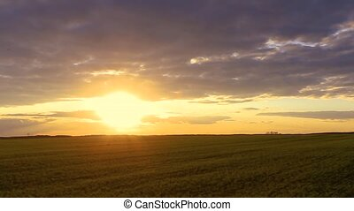 Natural Sunset Sunrise Over Field Or Meadow. Bright Dramatic...