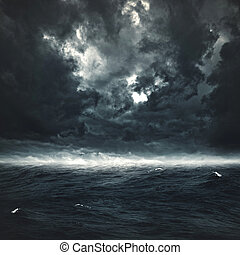 natural, tempestuoso, abstratos, fundos, desenho, ocean., seu