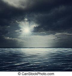 natural, tempestuoso, abstratos, fundos, superfície, mar, sob, céus