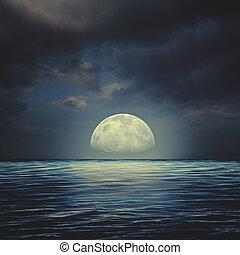 natural, tempestuoso, abstratos, noturna, fundos, superfície, mar, sob, céus