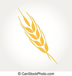 natural, template., logotipo, orelhas, ícone, vetorial, produto, desenho, trigo