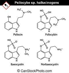 Natural tryptamine Psilocybe sp. alkaloids - baeocystin,...