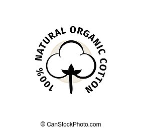 natural, vector, orgánico, label., algodón