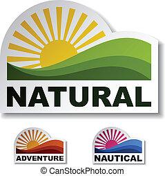 natural, vector, pegatinas, aventura, náutico