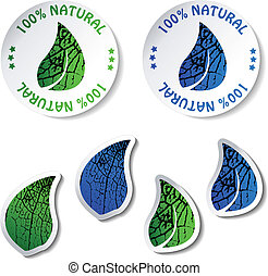 natural, vector, pegatinas