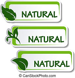 natural, vector, pegatinas, hoja