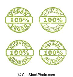 NATURAL, VEGAN, GLUTEN FREE stamp signs