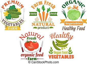 Natural vegetables cartoon badges set
