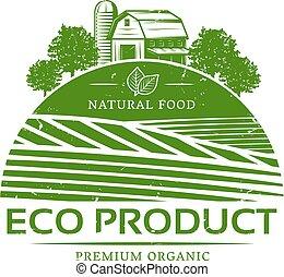 natural, vindima, etiqueta, verde, modelo, agrícola